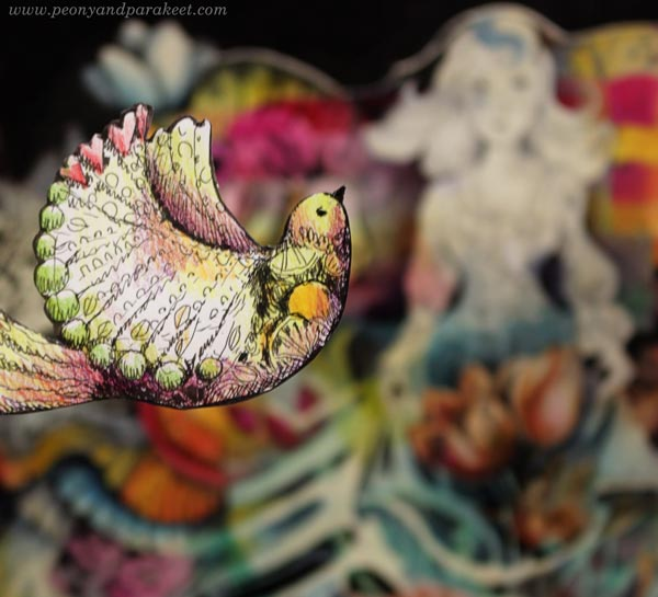 Hand-drawn paper bird. Art by Paivi Eerola from Peony and Parakeet.