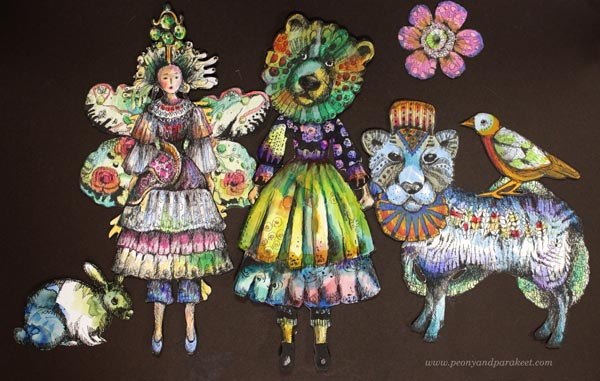 Paivi Eerola's collage art. Drawing paper dolls and animals. Check out her class Animal Inkdom!