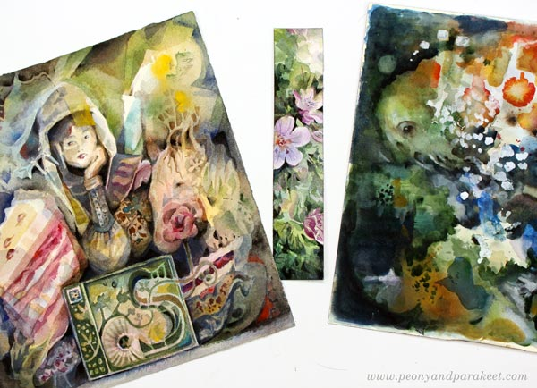 Watercolor inspiration from Paivi Eerola. Watch her video about painting a watercolor bookmark.