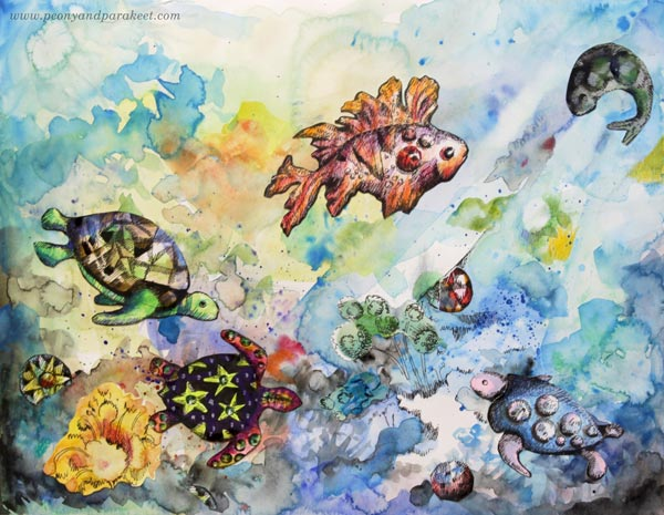 Watercolor collage art by Paivi Eerola from Peony and Parakeet. A sample project from her class Animal Inkdom.