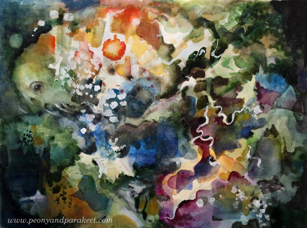 Watercolor painting by Paivi Eerola from Peony and Parakeet. See her video of how she made this using three inspiration photos for the first layers. Lots of tips included too.