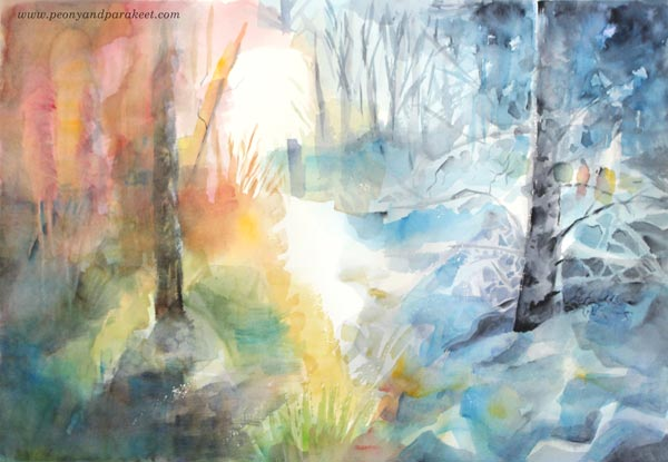 Watercolor painting by Paivi Eerola from Peony and Parakeet. Watercolor inspiration from her class Watercolor Journey.