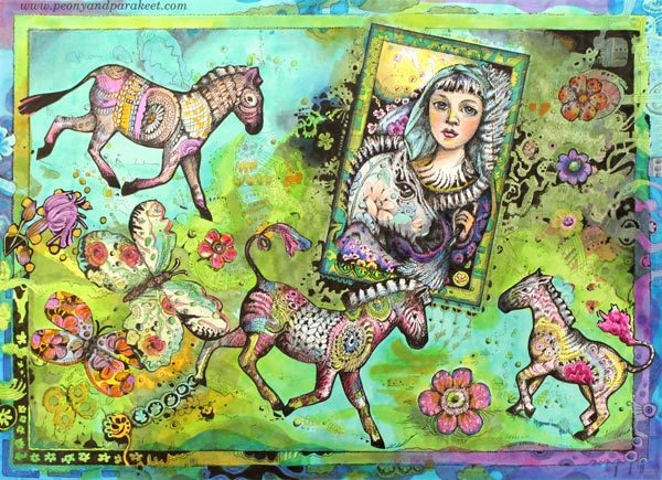 Zebra Madonna, a hand-drawn collage by Paivi Eerola from Peony and Parakeet.