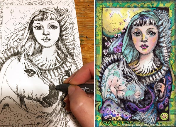 Making of a Zebra Madonna, fantasy art by Paivi Eerola from Peony and Parakeet.