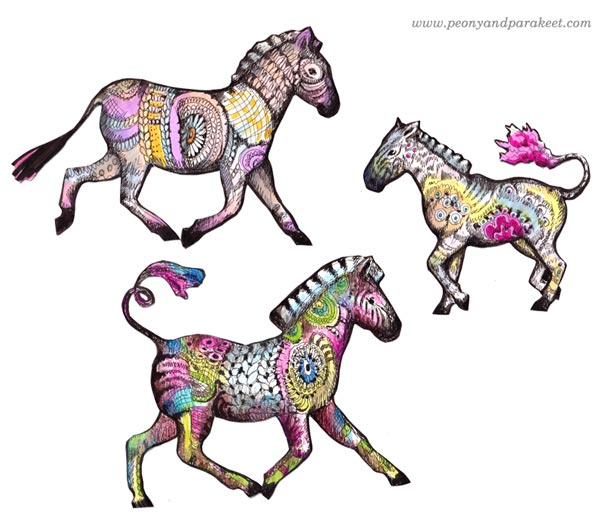 Hand-drawn zebras by Paivi Eerola from Peony and Parakeet. Sign up for her class Animal Inkdom to learn to draw these!