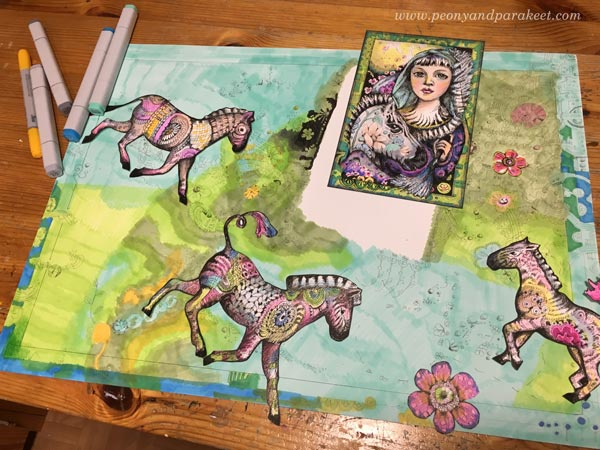 Making of a Zebra Madonna, a hand-drawn collage by Paivi Eerola from Peony and Parakeet. This piece is made mostly with Copic markers.