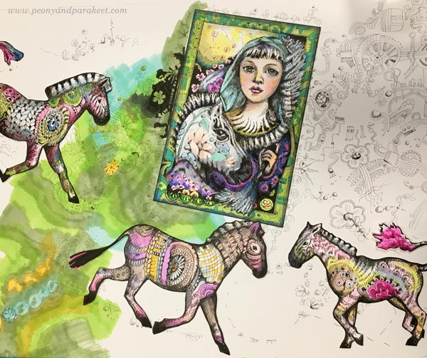 Making of a Zebra Madonna, a hand-drawn collage by Paivi Eerola from Peony and Parakeet.