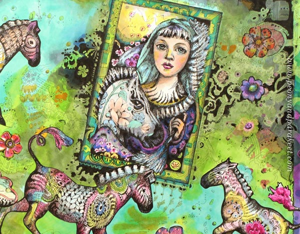 A detail of Zebra Madonna, fantasy art by Paivi Eerola from Peony and Parakeet.