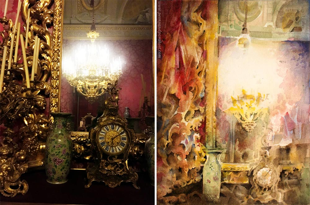 """Heritage"" - a watercolor painting by Paivi Eerola from Peony and Parakeet and its reference photo, taken at Palazzo Pitti."