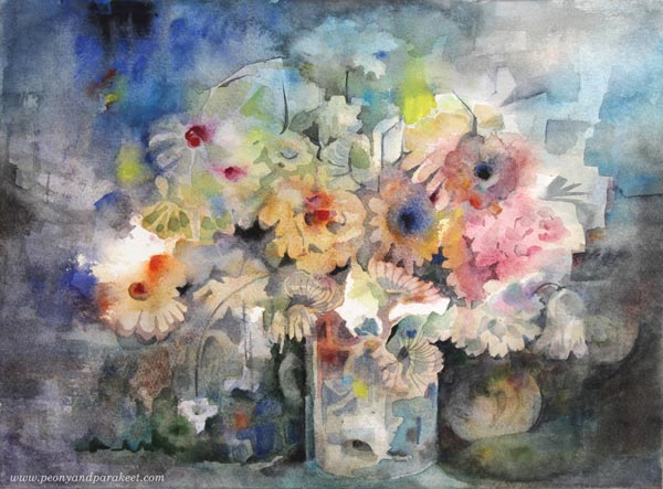 Floral still life by Paivi Eerola from Peony and Parakeet. Watercolor painting.