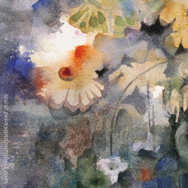 A detail of a floral still life by Paivi Eerola from Peony and Parakeet. Watercolor painting.