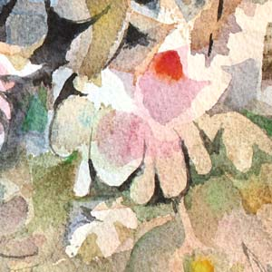 A detail of a floral watercolor painting.