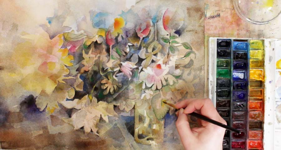 Paivi Eerola painting a floral still life with watercolors. Check out her class Floral Fantasies in Three Styles.