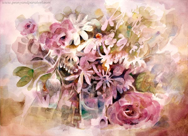 A watercolor still life painting by Paivi Eerola from Peony and Parakeet