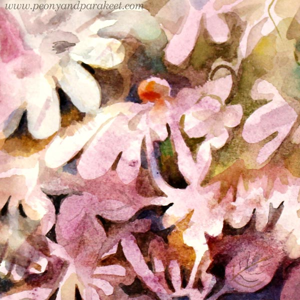 A detail of a floral still life painting by Paivi Eerola from Peony and Parakeet.
