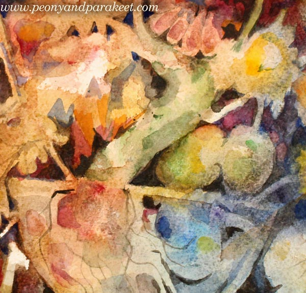 A detail of a watercolor still life painting by Paivi Eerola from Peony and Parakeet.