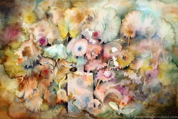 Magical watercolor effects. A watercolor painting called Abracadabra by Paivi Eerola from Peony and Parakeet.