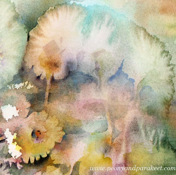 Magical watercolor effects. A detail of a watercolor painting called Abracadabra by Paivi Eerola from Peony and Parakeet.