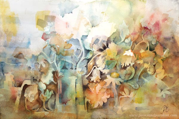 """Morning"" - a floral watercolor painting by Paivi Eerola from Peony and Parakeet"