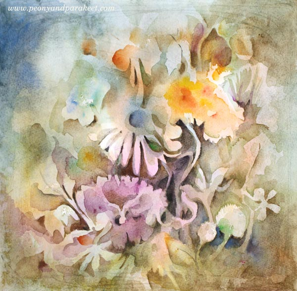 Flowers with watercolors by Paivi Eerola from Peony and Parakeet. Watch the video to paint with Paivi.