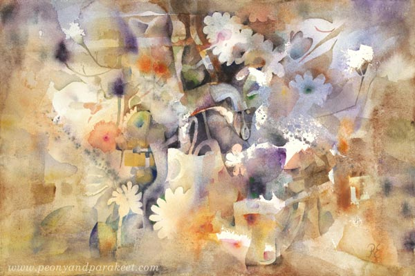 """Life Gives Me Plenty"" - a floral watercolor painting by Paivi Eerola from Peony and Parakeet"