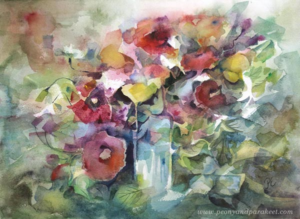 """Birthday"" - a flower watercolor painting by Paivi Eerola from Peony and Parakeet"