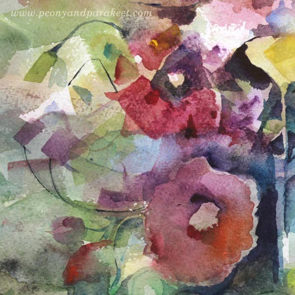 A detail of a floral watercolor painting by Paivi Eerola from Peony and Parakeet.