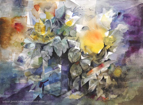 """Would Like to Stay"" - a floral watercolor painting by Paivi Eerola from Peony and Parakeet"