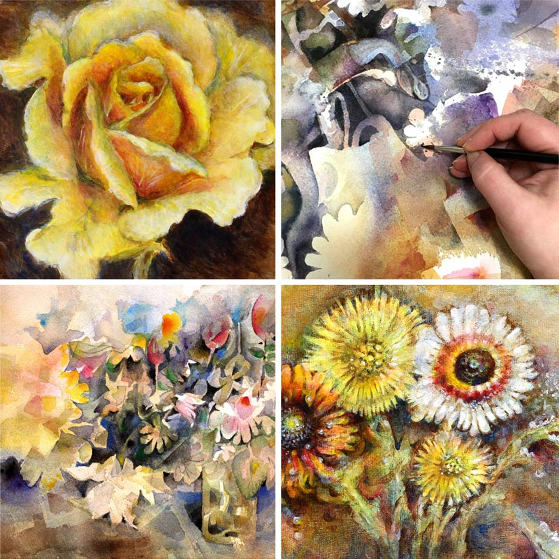 Flower paintings by Paivi Eerola by Peony and Parakeet. Flowers cure everything.