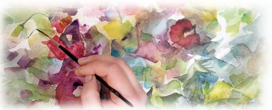 Painting watercolor flowers by Paivi Eerola from Peony and Parakeet.