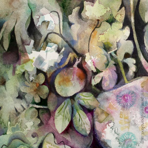 A detail of a watercolor painting by Paivi Eerola from Peony and Parakeet. Her visual style is shown in the details.