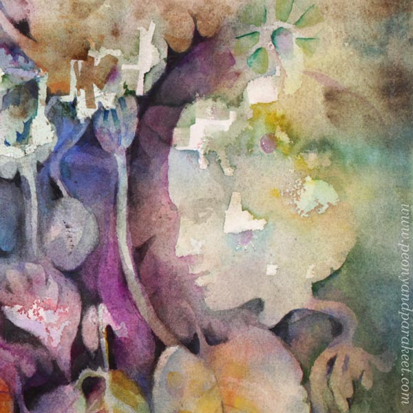 A detail of a watercolor painting by Paivi Eerola from Peony and Parakeet.