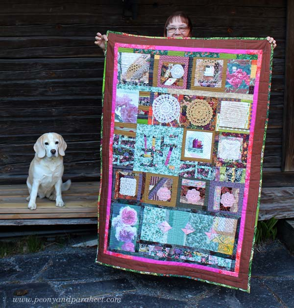 Finished quilt by Paivi Eerola from Peony and Parakeet