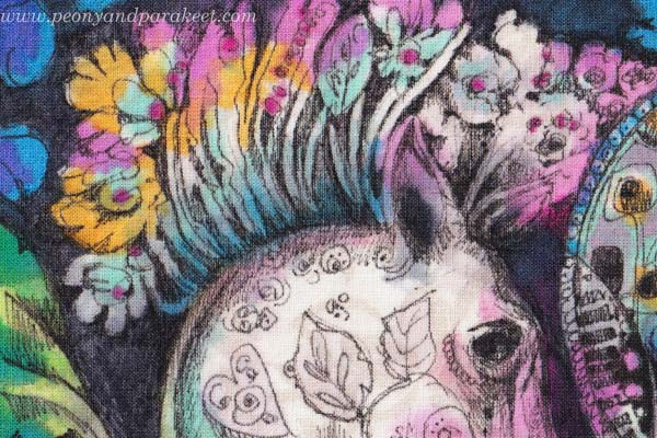 Drawing on Fabric by Peony and Parakeet - a detail.