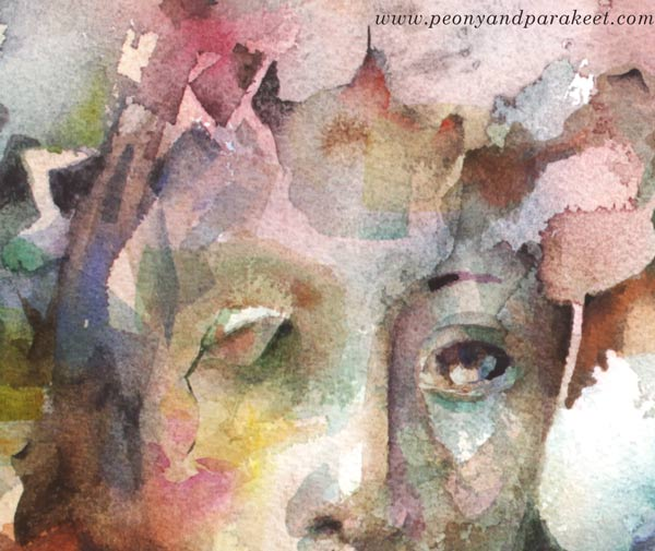 A detail of a watercolor painting by Paivi Eerola of Peony and Parakeet.
