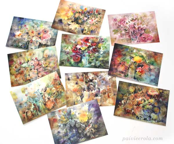 Watercolor floral art postcards by Paivi Eerola from Finland.