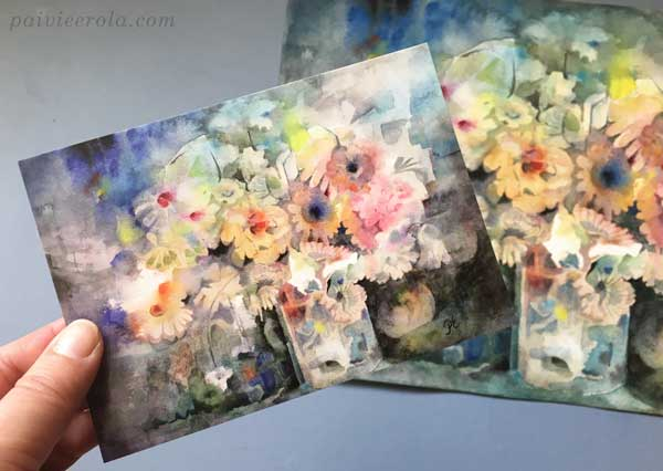 Making postcards of your art. A watercolor painting as a postcard. Art by Paivi Eerola from Finland.