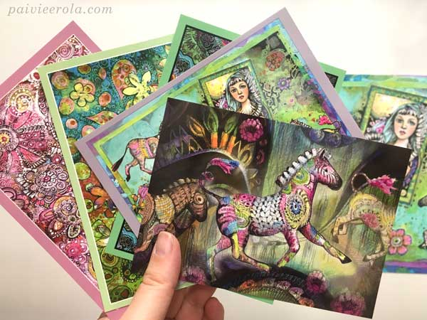 A set of postcards by Paivi Eerola from Finland.