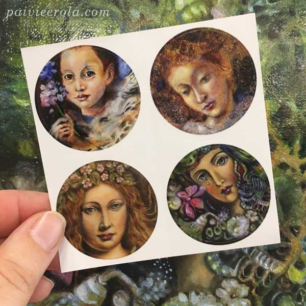 Paintings as stickers by Paivi Eerola from Finland.