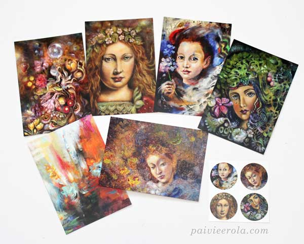 Paintings printed to postcards and stickers. Art by Paivi Eerola from Finland.
