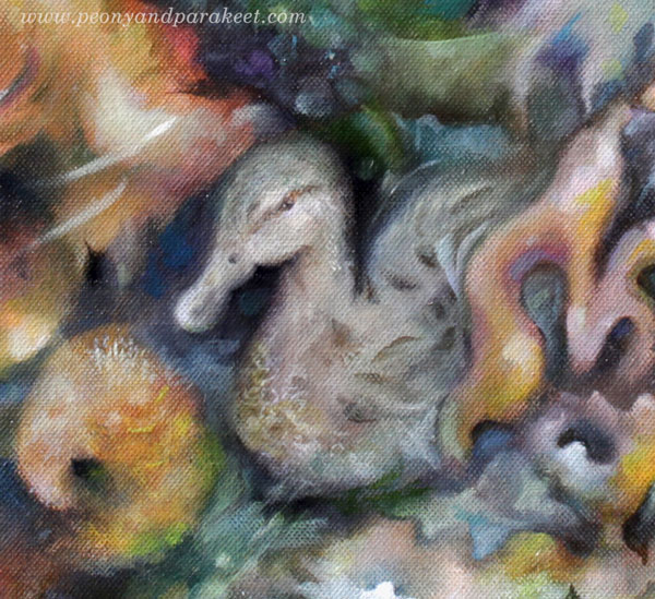 A detail of Dreaming Ducks, an oil painting by Paivi Eerola, Finland