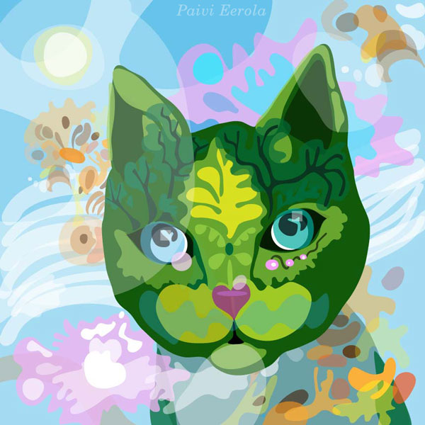 A cat illustration by Paivi Eerola of Peony and Parakeet.