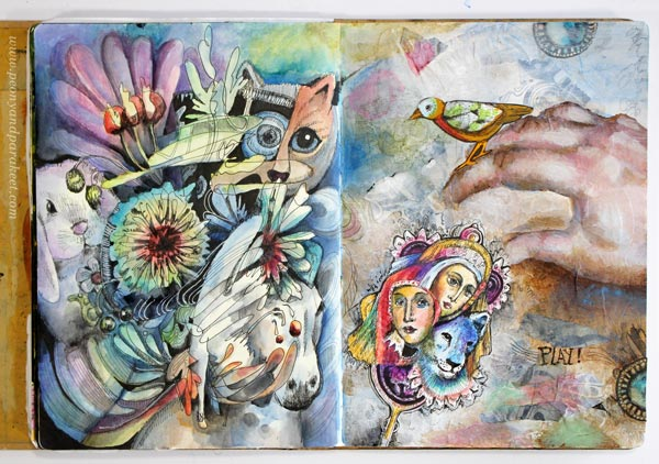 An art journal page spread by Paivi Eerola of Peony and Parakeet. Mixed media art.