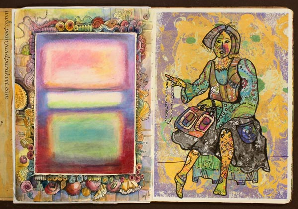 An art journal page spread by Paivi Eerola of Peony and Parakeet.
