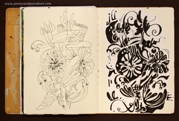An art journal page ready for revamping. By Paivi Eerola of Peony and Parakeet.