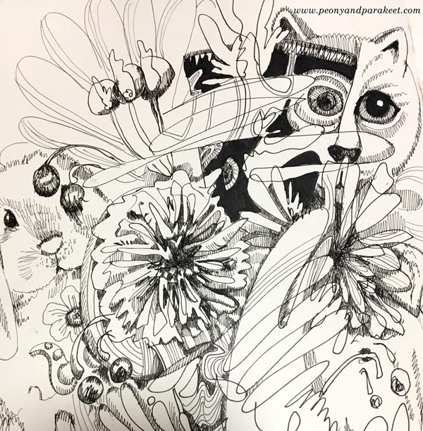 A detail of ink drawing by Paivi Eerola of Peony and Parakeet.
