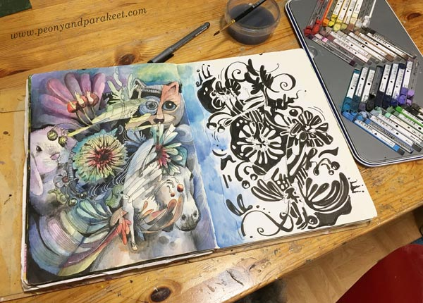 Art journaling by Paivi Eerola of Peony and Parakeet.