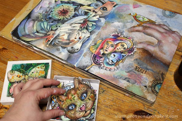Art journaling and drawing collage pieces by Paivi Eerola of Peony and Parakeet.