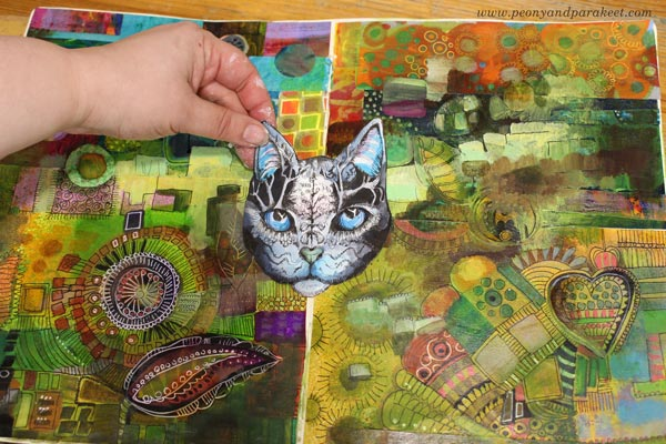 Playing with hand-drawn fantasy art by Paivi Eerola of Peony and Parakeet. A decorative cat.