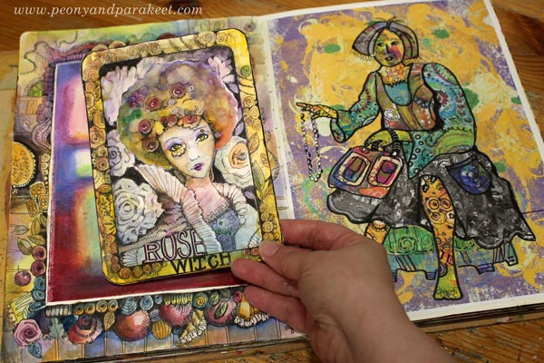 Playing with hand-drawn fantasy art by Paivi Eerola of Peony and Parakeet.